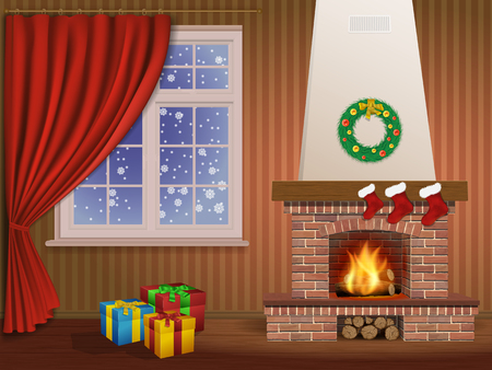 christmas fireplace: Christmas interior with a fireplace, gifts, and window Illustration