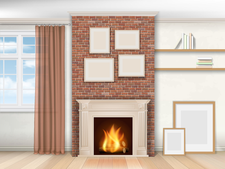 interior window: Interior living room with fireplace and window. Realistic illustration. Illustration