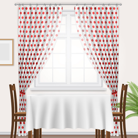 interior window: Fragment of kitchen interior. Kitchen window with polka dots curtain and dining table. Illustration