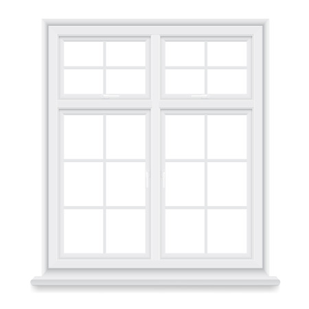 white window: Traditional white window isolated on white background. Closed realistic window element of architecture and interior design. Illustration