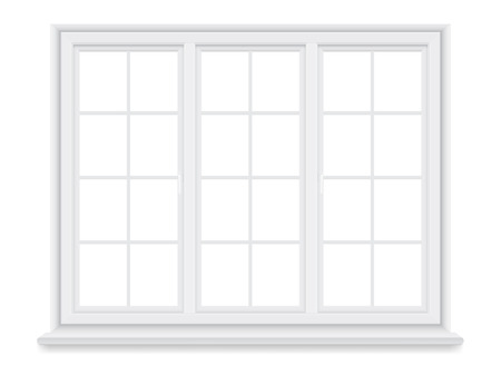 sill: Traditional white window isolated on white background.