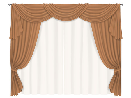 lining: Heavy brown with beige lining transparent curtain. Classic elements of the interior decoration of the window.