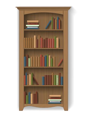 muebles de madera: estantería de madera con libros en las estanterías. Muebles para inter biblioteca o gabinete. Elemento de decoración entre otras - Las aisladas. Vectores