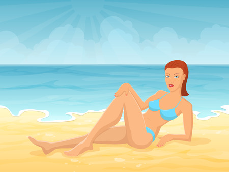 laying: Young girl lying on sea beach. Vector illustration about summer vacation and relaxation. Illustration