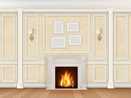 sconces: Classic interior wall with fireplace, sconces and pilasters.
