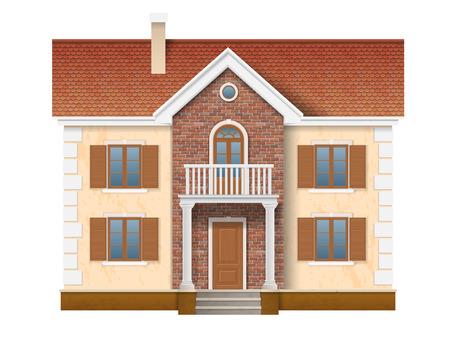 Una casa residenziale di due piani con muro di mattoni e tegole rosse. L'ingresso alla casa è arredata con colonne classiche. Archivio Fotografico - 60186636