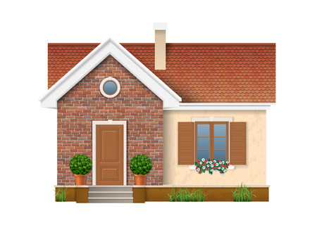 Small residential house with brick wall and roof of red tiles. A window with shutters decorated with flowers petunias, which stand on the windowsill. Entrance is decorated with boxwood in pot.