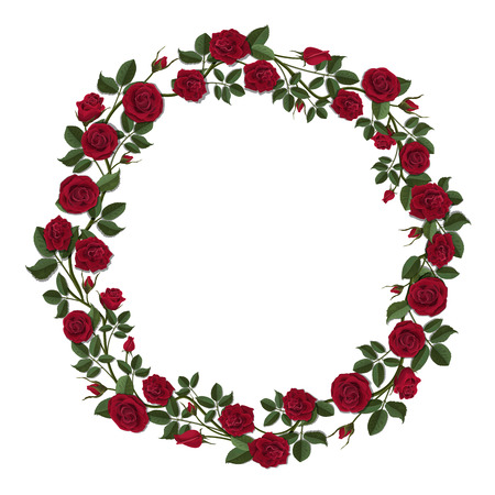 Round wreath of red roses. Round frame of flowers and buds of red roses. Template for greeting card.