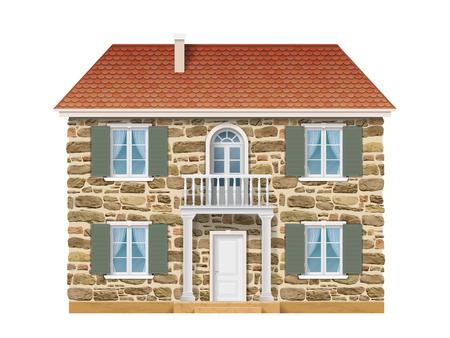 石の壁、白い窓とバルコニー付きの古い田舎屋敷。ヨーロッパの家の伝統的なファサード。