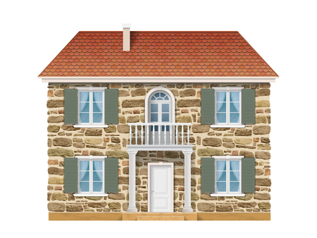 architectural styles: Old country house with a stone wall, white windows and balcony. Traditional facade of the European house.