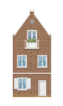facade: The historic facade of the European brick house. Balcony decorated with flowers. Traditional old street of the city. Illustration