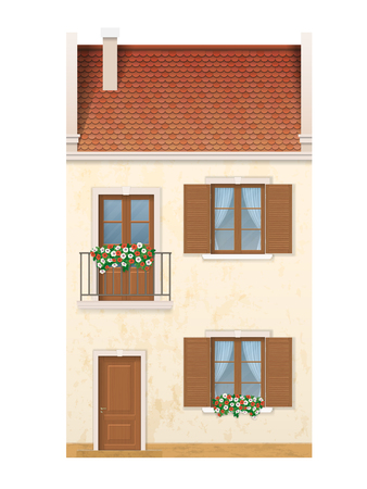 The historic facade of the European house. Balcony decorated with flowers. Traditional old street of the city.