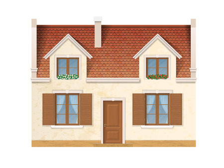 tile roof: The historic facade of the European house. Windows decorated with flowers. Wooden windows and doors and a red tile roof. Illustration