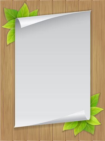 be green: White paper sheet and green leaves on wooden background. For example this template can be used for menu or tea list in cafe or restaurant.