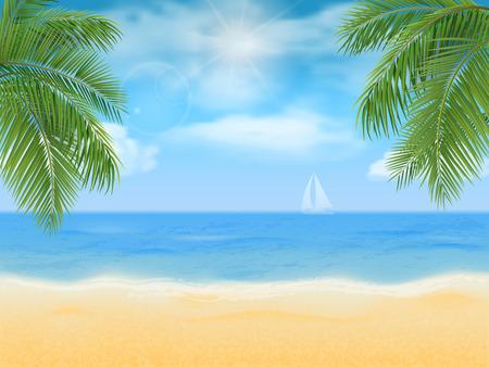 Sea beach and palm tree. Illustration