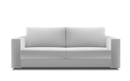 Realistic white modern sofa. Stock Vector - 61632913