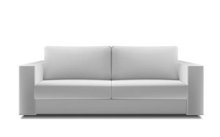 Realistic white modern sofa.