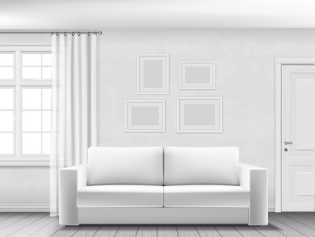 interno realistica di soggiorno con divano bianco, finestre e porte.