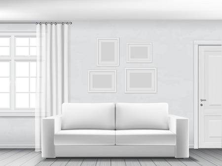 Realistyczne wnętrze salonu z białą kanapą, oknem i drzwiami.