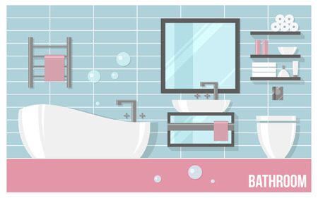 sanitary towel: Bathroom modern interior with blue tiles in flat style. Illustration