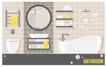 bathroom tiles: Bathroom modern interior with beige tiles in flat style. illustration about hygiene and home. Illustration