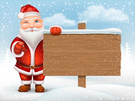 snow drifts: Santa Claus holding a wooden signpost on the background of the snow drifts.