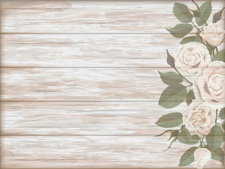 pink vintage: Vintage wooden background with white roses bud. template for greeting card.