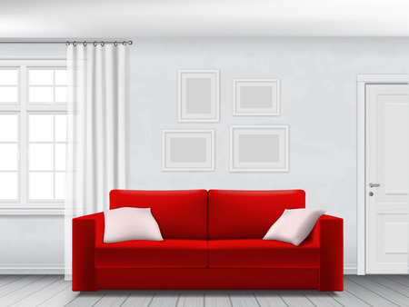 couches: Red sofa in white interior with window, curtain and door. Illustration