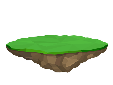 Floating island, vector illustration in low poly style, isolated. Illustration