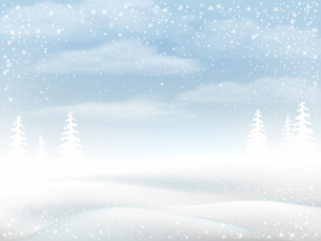 wintry landscape: Winter snowy rural landscape. Vector bakground for greeting card. Illustration