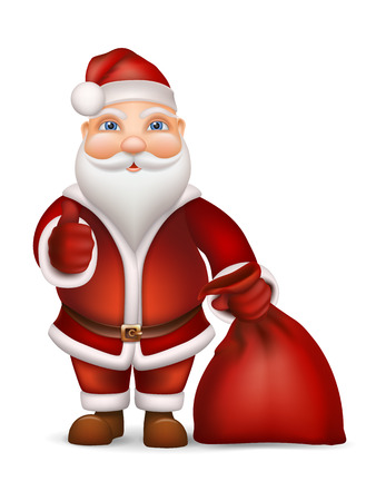 Santa Claus with bag gift showing thumbs up. Vector isolated christmas character. Illustration