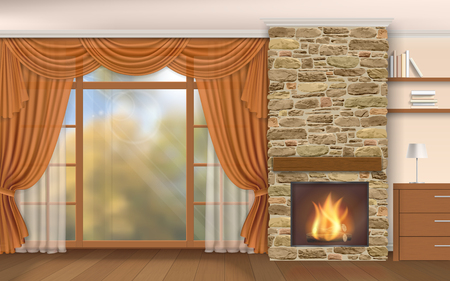 living room window: Living room interior with fireplace of stone and autumn scenery outside the window.