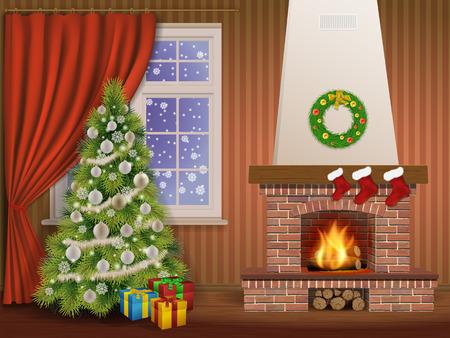 Kerstmis interieur met open haard en pijnboom, versierde kerst ballen en krans. Vector illustratie.