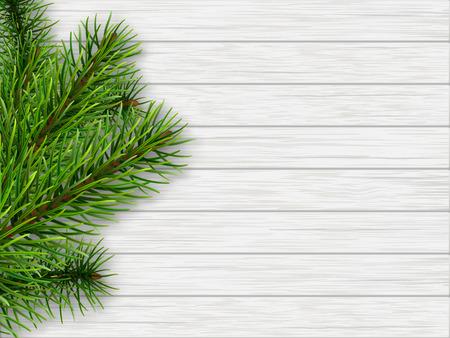 madera rústica: rama de pino en el fondo de cosecha de madera blanca. vector de fondo realista en el tema de la Navidad.