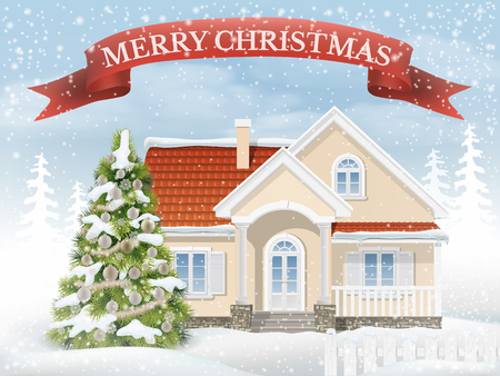 rural scene: Country Christmas scene with the suburban house and the fir tree. Rural winter landscape with snow drifts and falling snow. Vector realistic illustration background for greeting card Happy New Year.