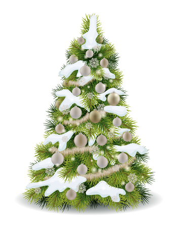 isolated tree: Christmas tree decorated balls and garland with snow on the branches. Realistic vector element for greeting card, isolated.