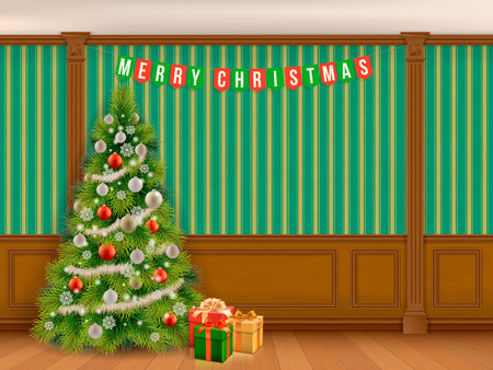 christmas room: Decorated Christmas tree in classic room with wooden paneling and pilasters. Interior living room or library in the classical style. Illustration
