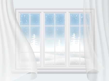 living room wall: View of the winter landscape through a window with transparent curtains. Interior wall of the living room.