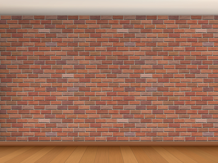 red brick: Interior of the room with red brick wall, white ceiling and wooden parquet. Vector architectural background. Illustration