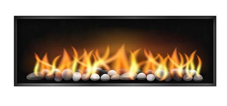 case moderne: camino moderno con fiamme caldaie di larghezza e pietre all'interno. Vettoriale illustrazione isolato su sfondo bianco.