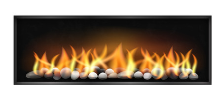 Modern fireplace with wide firebox flames and stones inside. Vector illustration isolated on white background.