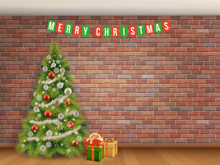 Christmas tree and garland on red brick wall background. Empty room with wooden floor. Stock Illustratie