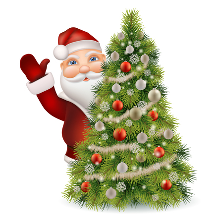 mitten: Santa Claus peeking out of a decorated christmas tree and welcomed. Christmas character vector isolated.