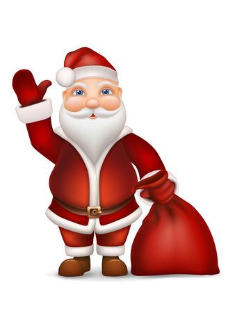wave hello: Santa Claus with a bag of gifts waving his hand. Christmas character - vector illustration.