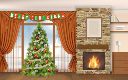 interior window: Christmas Interior with fireplace and fir tree. Winter landscape outside the window on the street, in the fireplace burning firewood. Interior of chalet or mountain lodge. Illustration