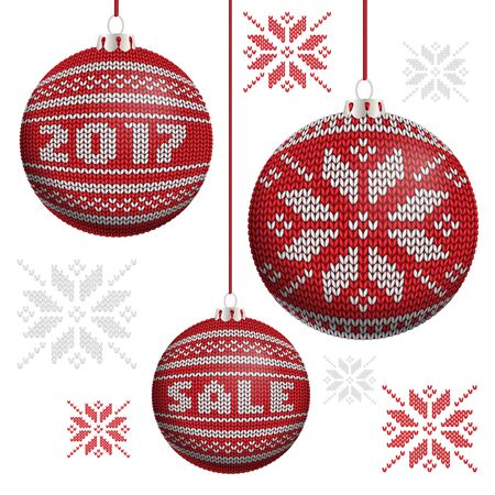 stockinet: Red knitted Christmas balls with snowflake, word sale and 2017 Illustration