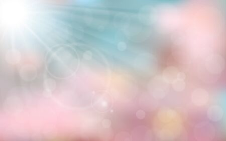 sunshine background: Pink and blue spring background with sun ray, flare, bokeh. Vector illustration.