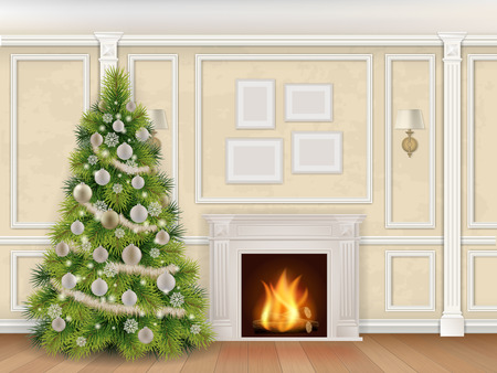 luxury interior: Luxury interior wall with christmas tree fireplace and pilasters. Vector realistic illustration. Indoor background.