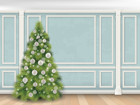 pilaster: Christmas tree on blue wall with pilasters and moulding panels. Vector realistic illustration. Luxury interior. Indoor background.