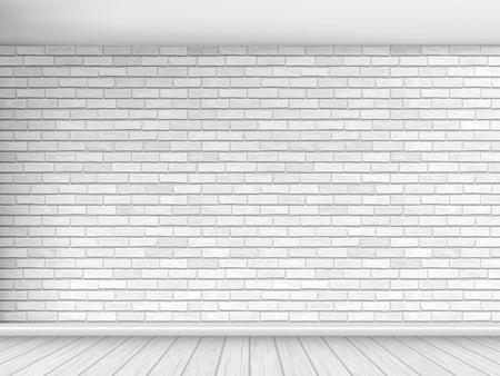 Alte Mauer aus weißen Ziegeln mit Boden und Decke. Fragment des Innenraums. Architectural Vektor Hintergrund.